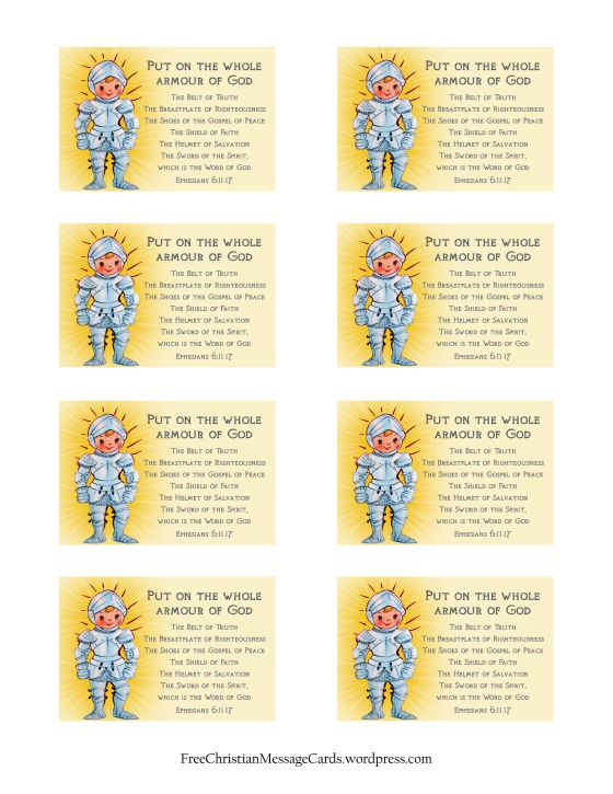 Armor of God Christian Message Card print page