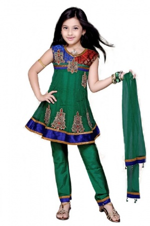 Glamorous Green Kids Anarkali made of fancy fabric with a brocade patch and embellished with  lace work and stone work. This can be worn sleeveless or with sleeves that can be stitched on if so desired.