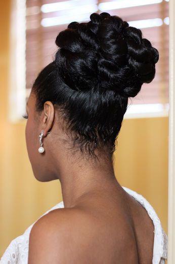 Wedding Up-do Black bride, black hair, wedding hair style