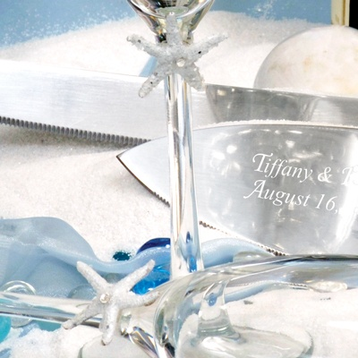 Beach Collection Cake Server and Toasting Flute Set