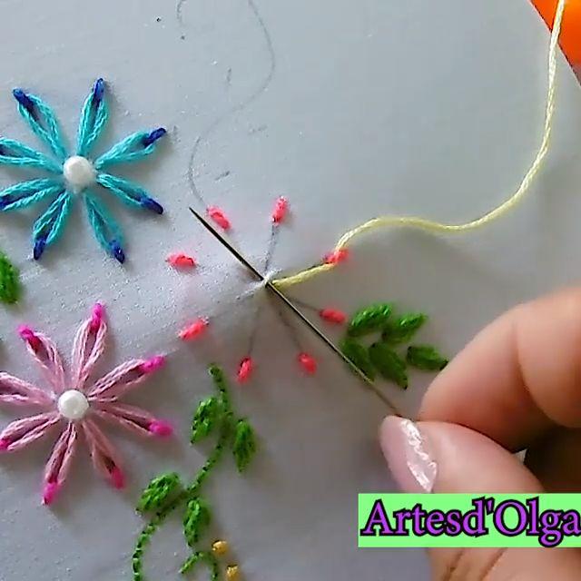 Cómo Bordar Flores Doble Color