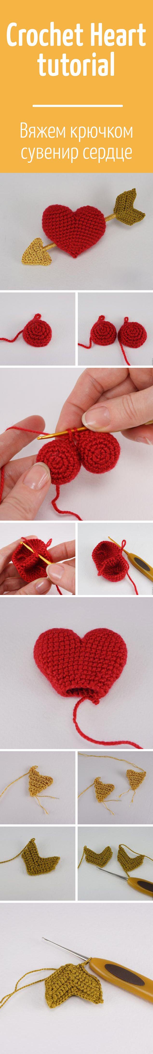 Вяжем крючком романтичный сувенир — сердечко / Crochet Heart tutorial