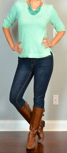 outfit post: mint sweater, skinny jeans, boots