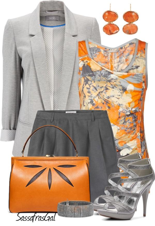 """Gray & Orange"" by sassafrasgal ❤ liked on Polyvore"