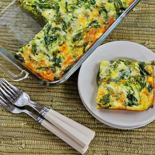 Baby Kale, Mozzarella, and Egg Bake found on KalynsKitchen.com.