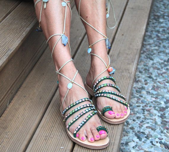SALE 50% OFF Handmade 'Esmeralda' Gladiator Sandals