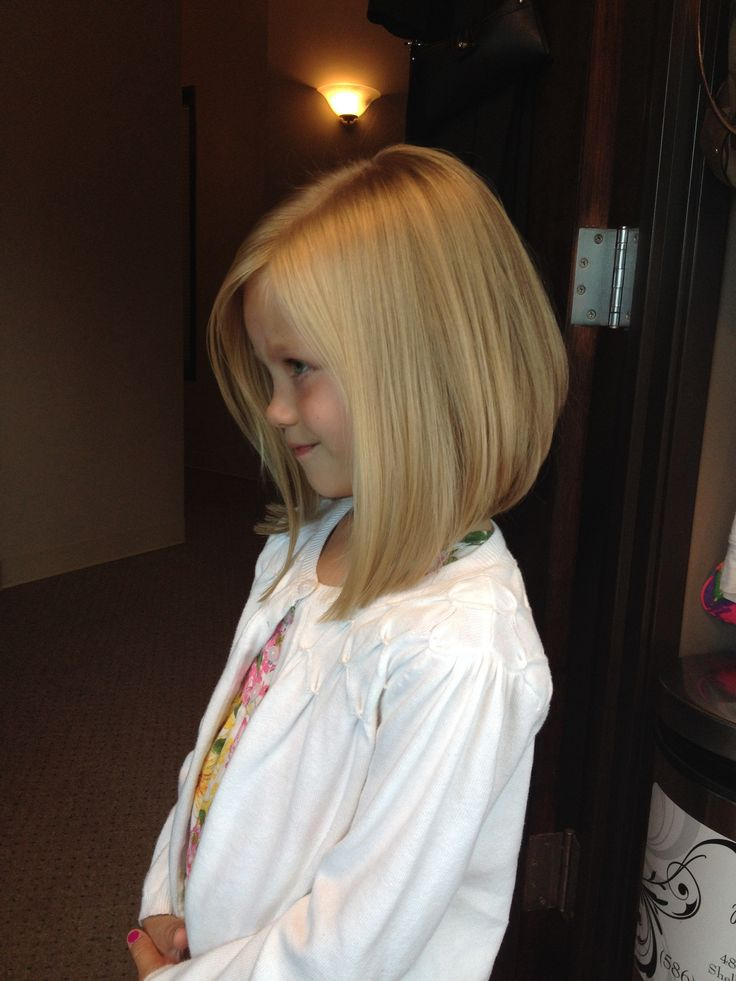 Little girls haircut angled bob