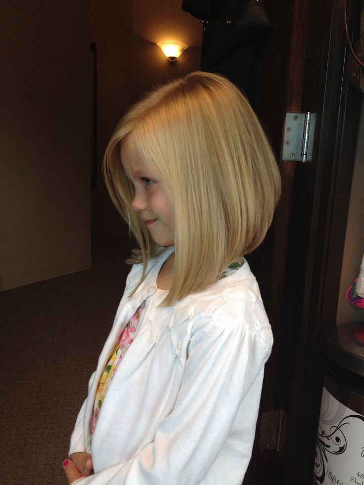Little girls haircut angled bob