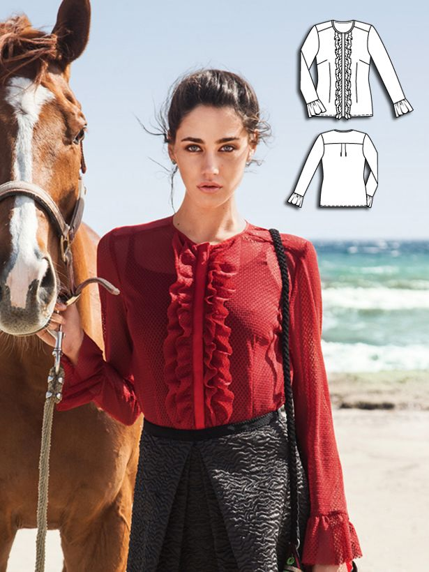 This style is sewn in a dramatic cherry red mesh that is ruffled along the front placket and at the sleeve hems in a look reminiscent of a Spanish flamenco blouse. The fabric doesn't fray, which allows the hem edges to remain unfinished – for a wonderfully beautiful drape. #burdastyle #sewing #pattern #sew #diy