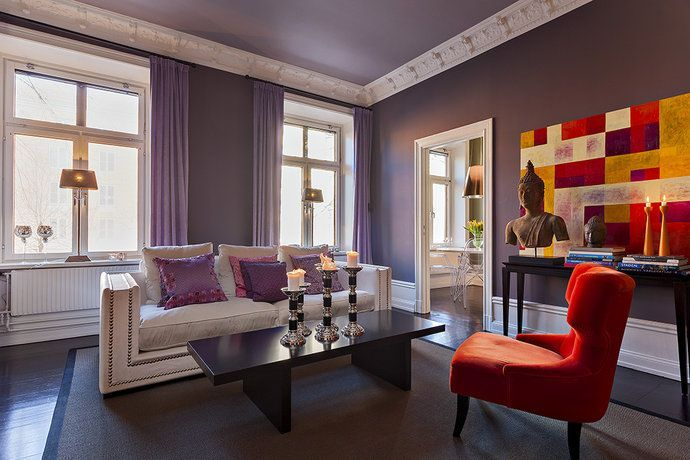Bildresultat för lila vardagsrum