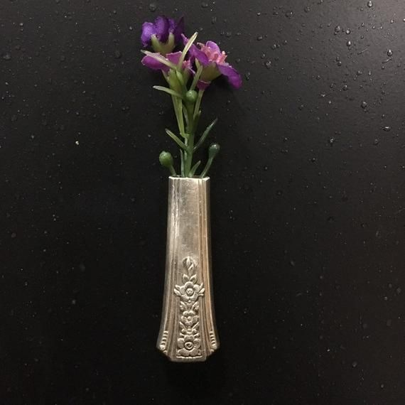 Magnetic Bud Vase Boutonniere Strong Magnet Lapel Pin Antique Vintage Silverplate Silver Recycle Floral Wedding Brooch Fridge Unknown Pat