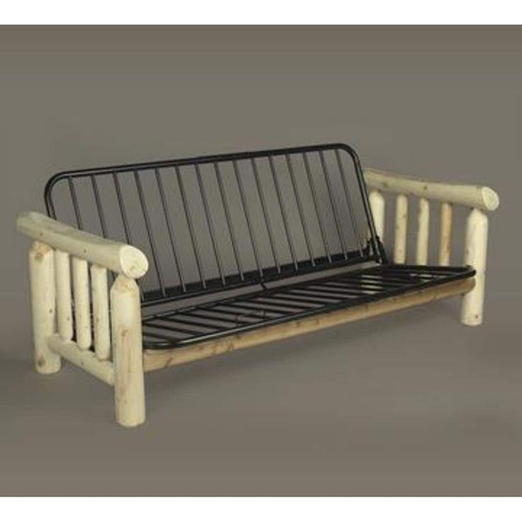 83 Natural Northern Cedar Indoor Log-Style Wooden Futon Bed Frame, Black