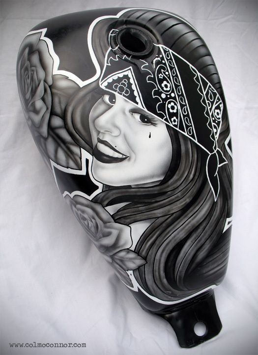 Chicano Style Airbrushed Fuel Tank by Colm O Connor
