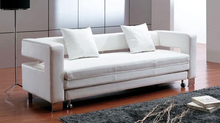 Modern White Leather Sofa Bed Sleeper