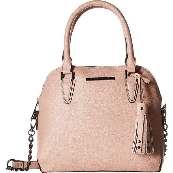 Steve Madden Bhelena (Blush) Satchel Handbags (220 BRL) ❤ liked on Polyvore featuring bags, handbags, pink, man bag, purse satchel, pink satchel purse, steve madden purses and faux-leather handbags