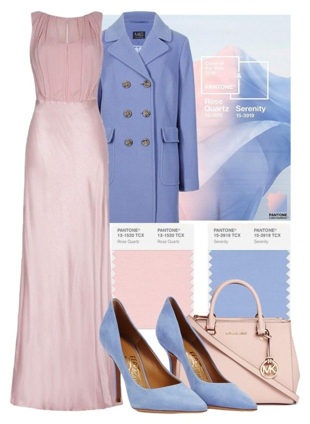 """// COLOR OF THE YEAR // PANTONE 2016 // ROSE QUARTZ & SERENITY //"" by letlove ❤ liked on Polyvore featuring M&S Collection, Ghost, Michael Kors and Salvatore Ferragamo"