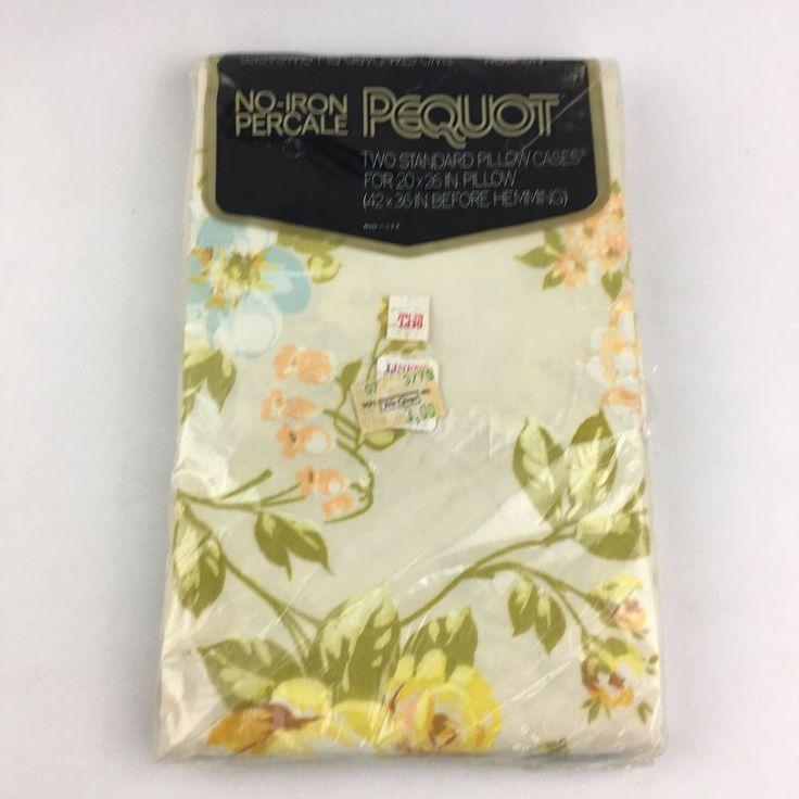 NIP NEW Vintage Pillowcases Set Pair Pequot NOS Flower Retro Floral Percale #Pequot