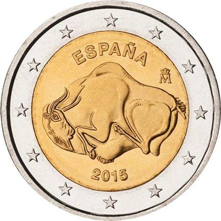 Anno: 2015. Nazione: Spagna. Tiratura: 8.000.000 Diametro: 25,75 mm. Spessore: 2,20 mm. Massa: 8,50 g. Dritto descrizione: al centro della moneta è raffigurato uno dei bisonti dipinti nella Grotta ...