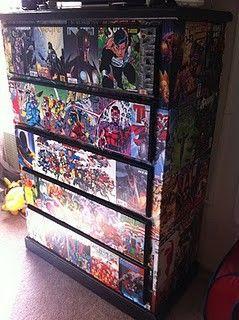 comic book dresser..boys room, LOVE!  (KD-ikea dresser redo idea #2)
