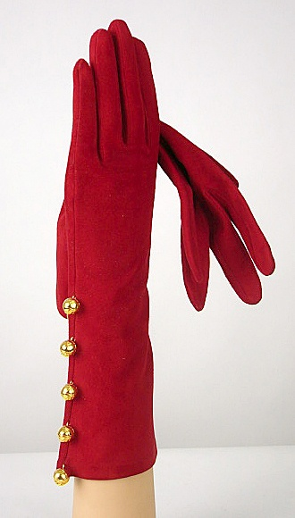 Chanel Vintage Red Gloves - Gold button trim