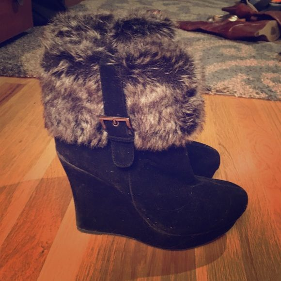 Black suede wedge boot with fur Black suede boot with gray fur cuff . Size 9 by Bamboo Bamboo Shoes Winter & Rain Boots