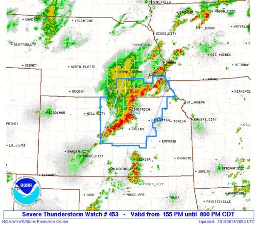SPC Severe Thunderstorm Watch 453 - http://blog.clairepeetz.com/spc-severe-thunderstorm-watch-453/