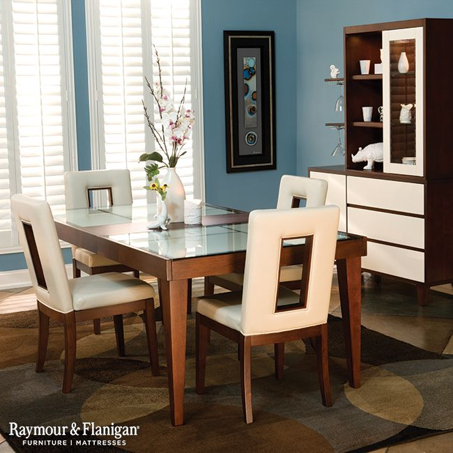 The Baby Blue Hue On This Wall Softens Up Modern Look Of Dining Room