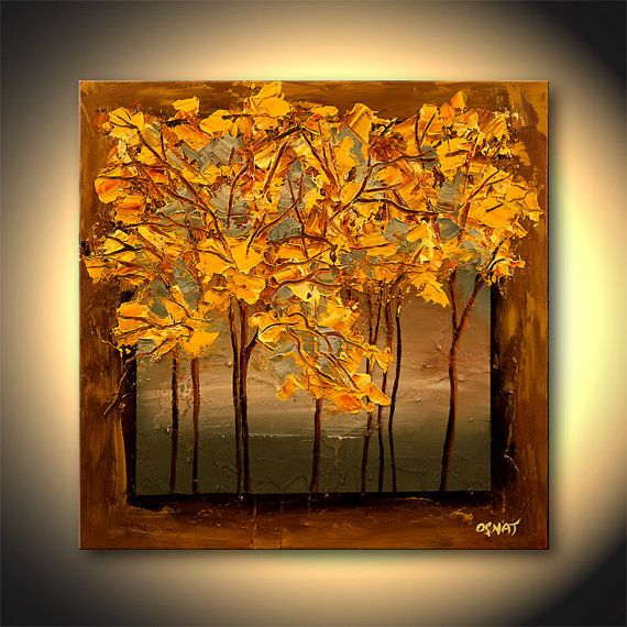 "Landscape Painting  24"" x 24"" Acrylic Texture Yellow Blossom Trees Art by Osnat - MADE-TO-ORDER -"