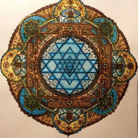 Mandala Sri yantra Marvy for drawing 0.1 and Lyra aqua brush duo mandala design