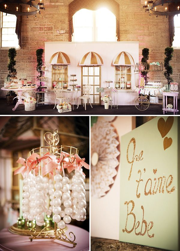 """French inspired baby shower: Amazing """"Parisian Cafe"""" dessert display + Pretty white wooden chests for a lunch buffet"""