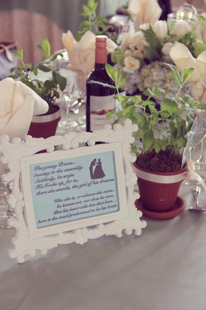 Cinderella Bridal Shower // Cinderella quotes on frames on tables. I love this idea! Frames from the dollar store