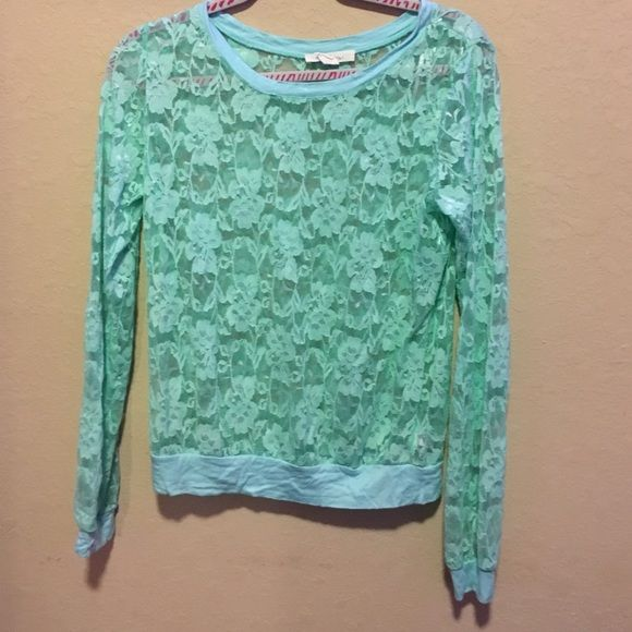 Forever 21 mint Shirt Forever 21 mint see thru rose print shirt. Worn once! Size medium Forever 21 Tops Blouses