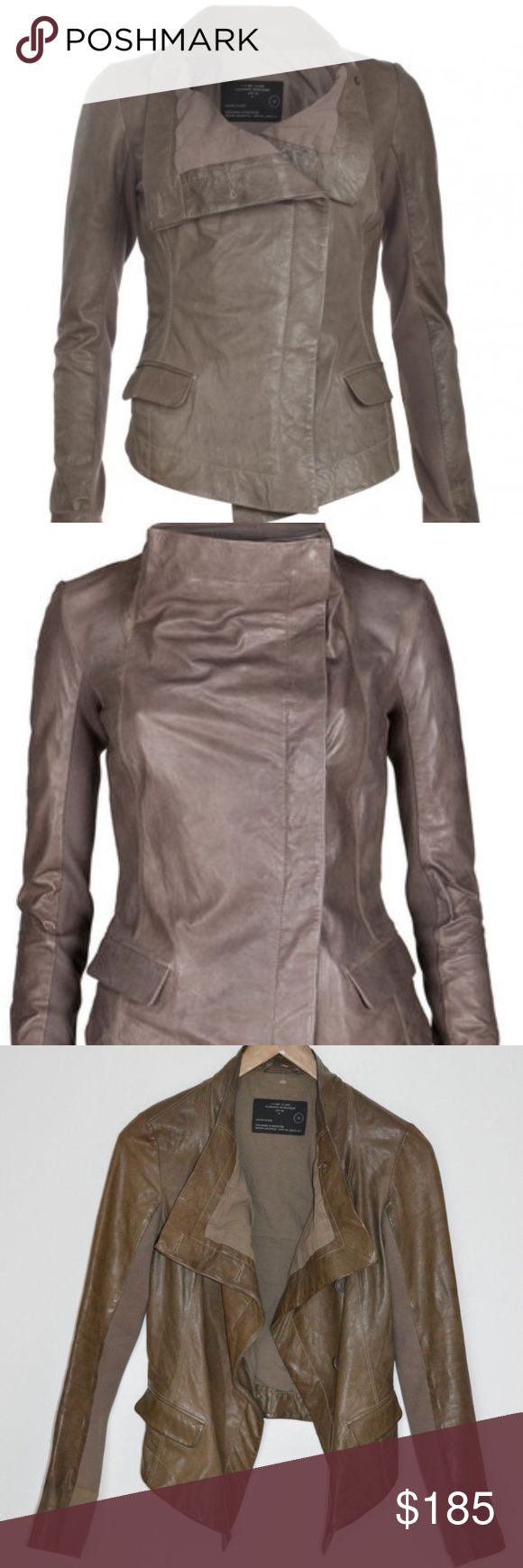 """AllSaints """"Feathers"""" Leather Draped Moto Jacket AllSaints Spitalfields """"Feathers"""" Leather Drape Jacket Everyone needs a good leather jacket, and this one is timeless. It's sleek, sophisticated, and guaranteed to look good no matter what you wear it with. Versatile wear - neck can be buttoned and funneled or open and draped.  100%  Leather. Butter soft. Lining: 100% Cotton. Sleeve paneled lining: 100% Viscose. Size: UK8 US4 Rare Allsaints piece from iconic 2010 collection Allsaints Jackets…"""