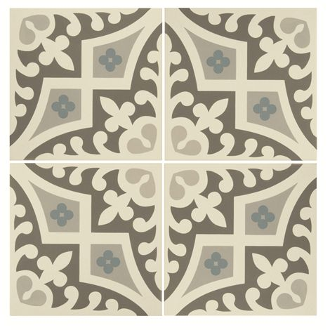 These Romanesque tiles feature shades of grey as well as accents of blue. The bold pattern is sure to demand attention wherever they are used.