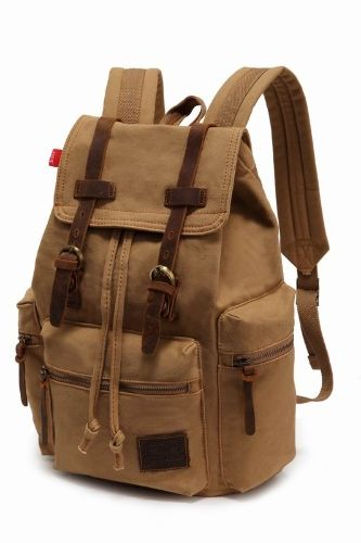 Shop cheap coffee Men/Women's Vintage Canvas Backpack Rucksack Satchel School Bag Hiking Bag Khaki for sale from Tomtop.com with the wholesale price online shopping.