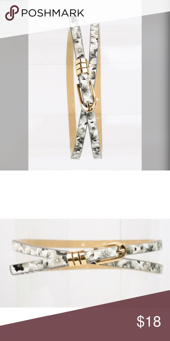 Cute Skinny Floral Belt Skinny Floral Belt. Rounded buckle. 42″ long. One size f…