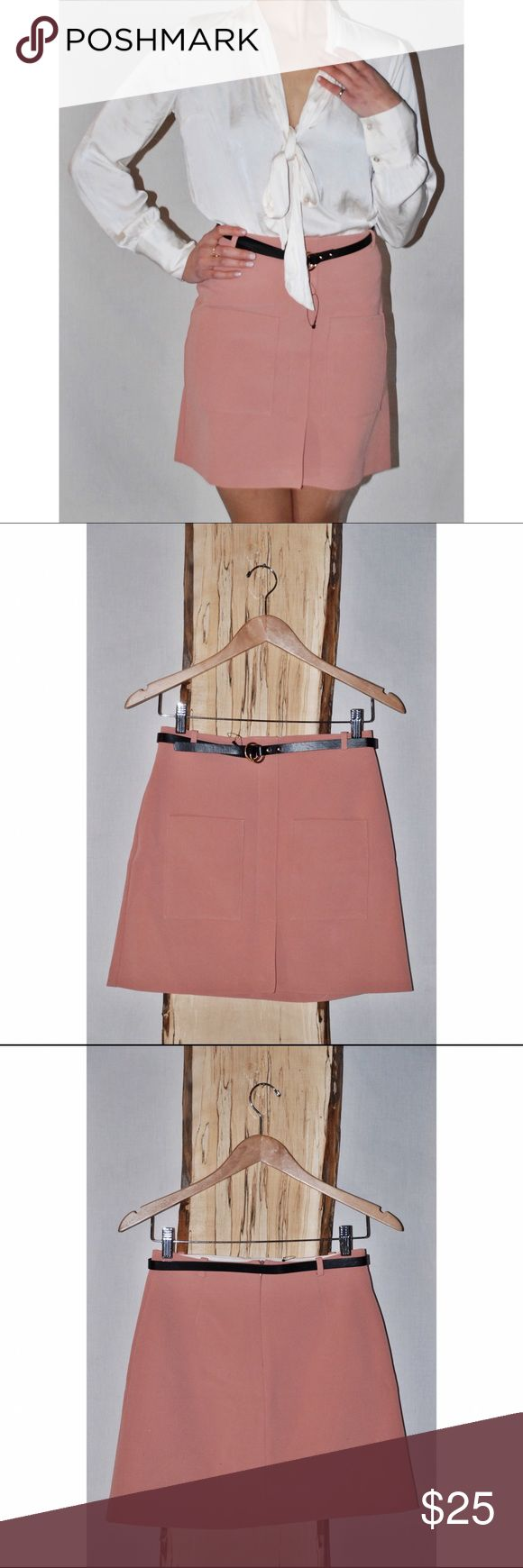 ASOS A-Line Skirt in Blush -River Island from ASOS skirt   - Blush colored fabric with front pockets and slit. Back zipper. Detachable belt is included with skirt  - NWT never been worn ASOS Skirts A-Line or Full