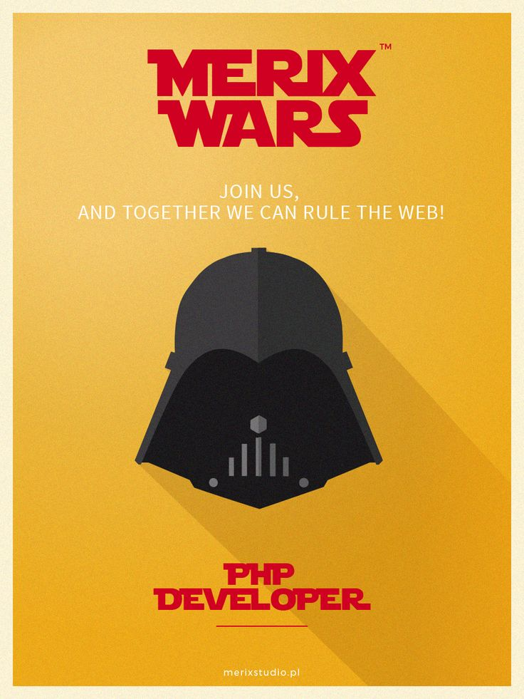 Our recruitment campaign based on #starwars Join our team as #PHP #Vader #job http://www.merixstudio.com/wars/