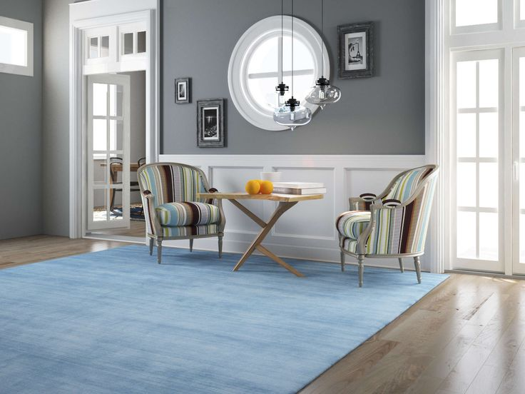 Handloom fringes - Azzurro 80x300 - CarpetVista