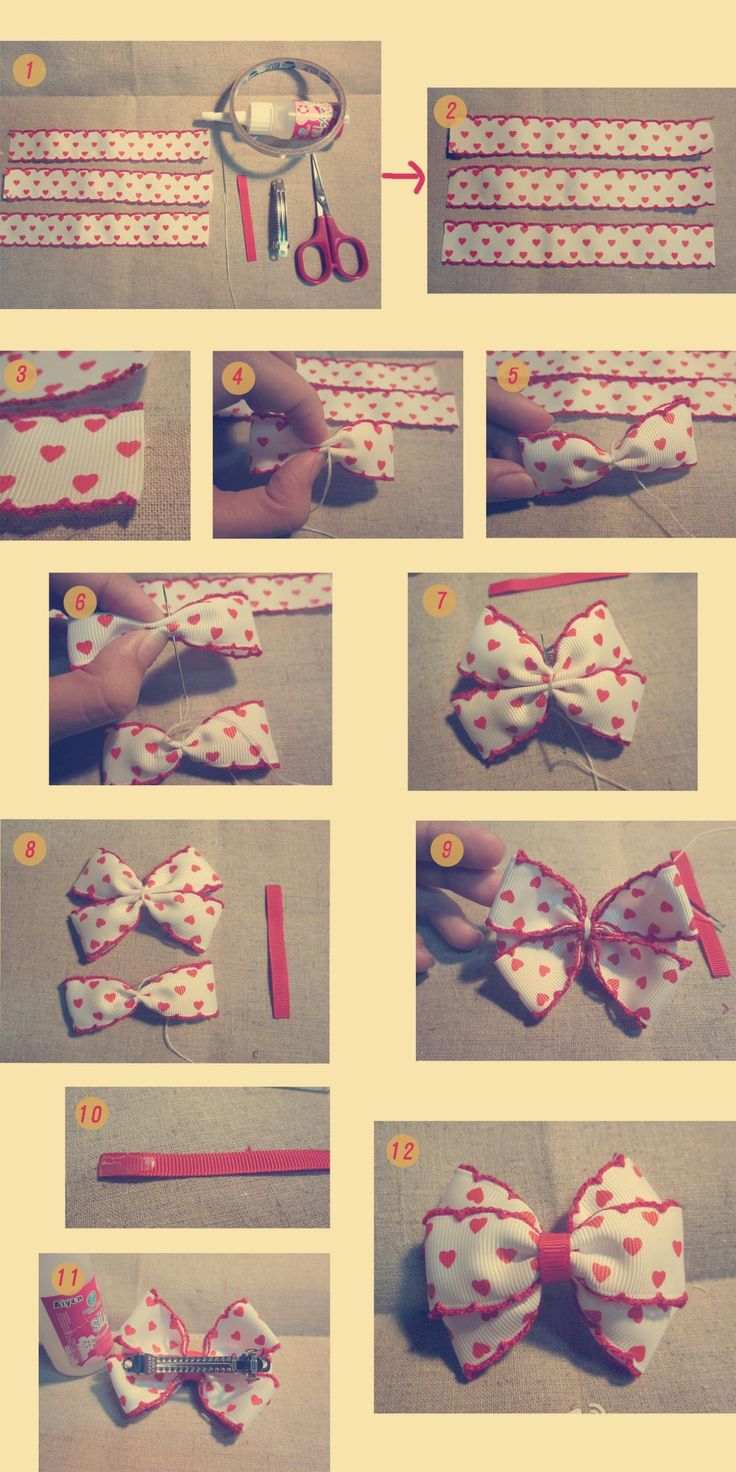 DIY ribbon hair bow.  Ooo I think I'd like doing it this way. Looks like. They start with 3 tuxedo bows.