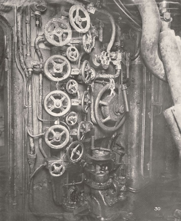 Manually operated valves aboard the salvaged German submarine U.B.-110. Photograph courtesy of the Tyne & Wear Archives & Museums.
