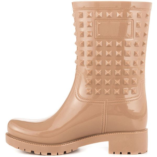 Maker's Women's Tina - Nude (2.575 RUB) ❤ liked on Polyvore featuring shoes, boots, mid-calf boots, wellington boots, block heel boots, wellies boots, slip on rubber boots and mid calf rain boots