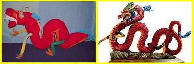 Drago cinese realizato con pile e altri ritagli di tessuto