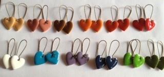-Enamel Heart Earrings - by hootoinkmoo on madeit