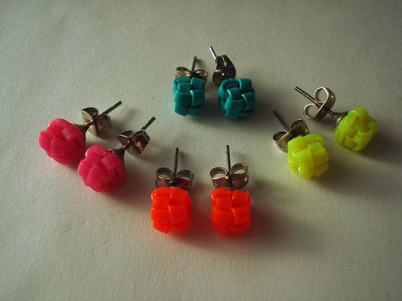 Yellow neon boondoggle cube earrings Camp by MischaLee on Etsy