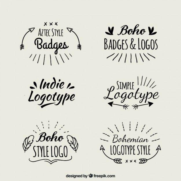 Logotipos boho escritos a mano Vector Gratis