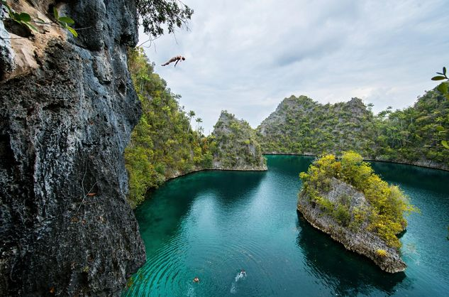 Cliff Diving Into Indonesian Paradise