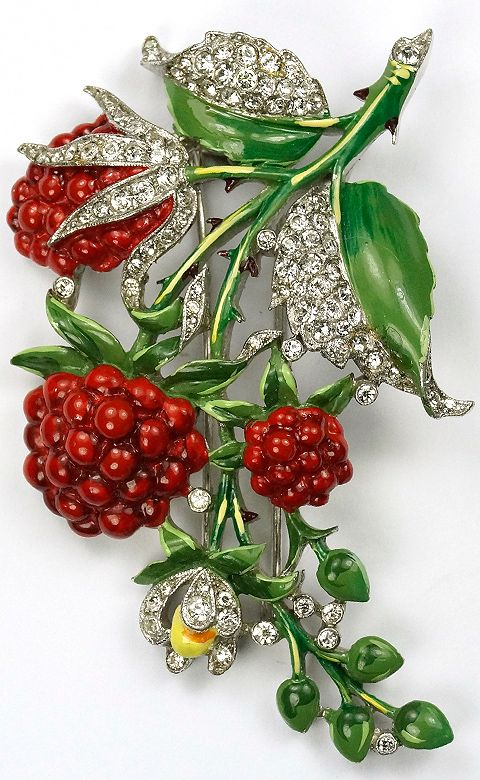 Trifari 'Alfred Philippe' Pave and Enamel Raspberries Pin Clip