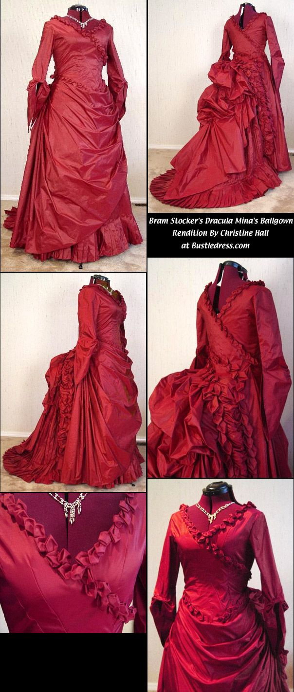 Mina Harkers Red Bustle Gown takes the maker 150 hours to make and 26-30 yards of material - amazing attention to detail