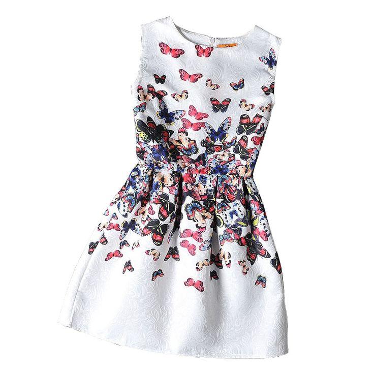Niñas vestidos formales adolescentes diseñador flor de mariposa de impresión sin mangas vestido de fiesta de pascua traje de la muchacha vestidos infantis(China (Mainland))